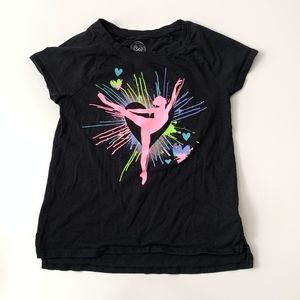 Black Girls Shirt with Ballerina design sz 10